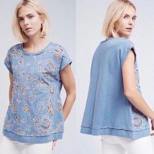 Anthropologie Akemi + Kin Blue Sequin Embroidered